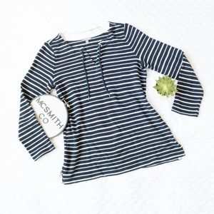 Talbots | Navy Striped Long Sleeve Tunic Sweater